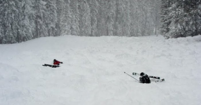 Skiing down Stampede in North Star