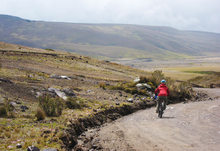 mountain biking down cotopaxi
