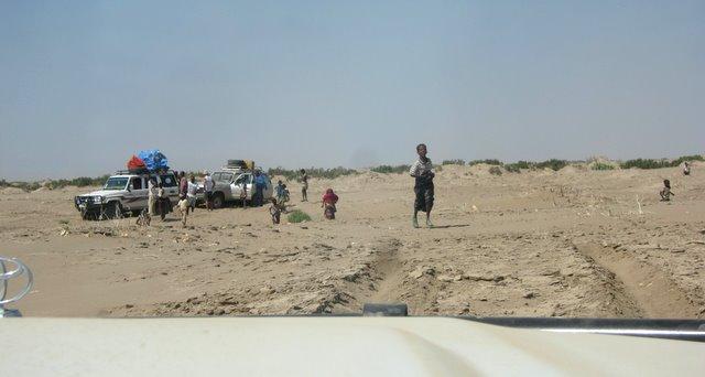 Jeeps stuck in Danakil