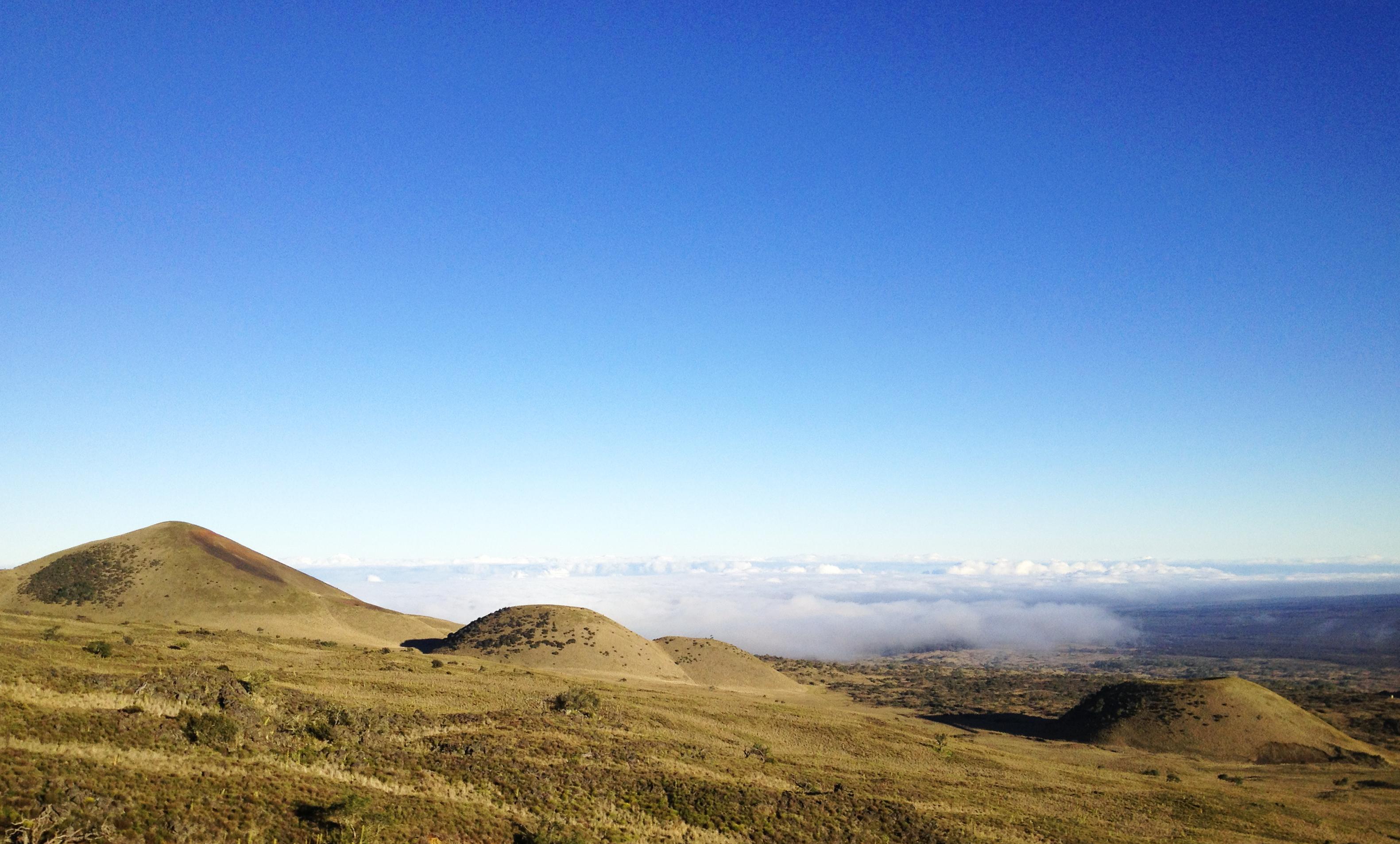 Cinder cones on the flank of Mauna Kea