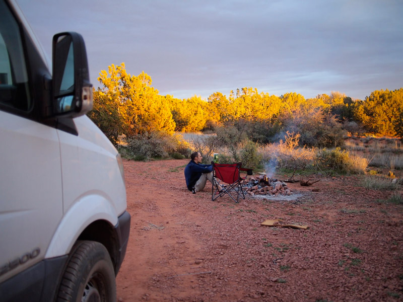 Enjoying sunset while wild camping in Sedona