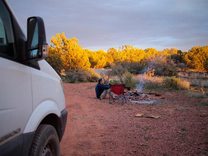 Enjoying sunset while wild camping in Sedona