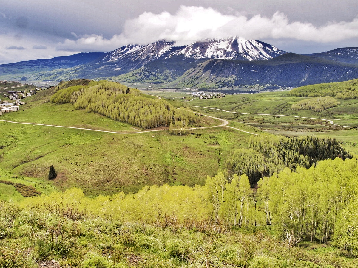 Crested Butte, Colorado. Mid-June and the high altitude trails were still covered in snow.  We stopped  at the first trail we could see and followed it. Glad for a chance to stretch our legs after a few days of rain.
