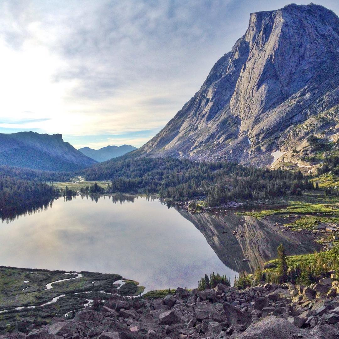 Morning reflection of Mt. Mitchell on Lonesome Lake in the Wind River Range. This is probably my fave part of Wyoming.