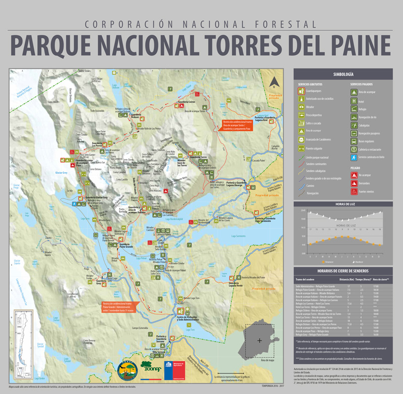Large Torres del Paine map