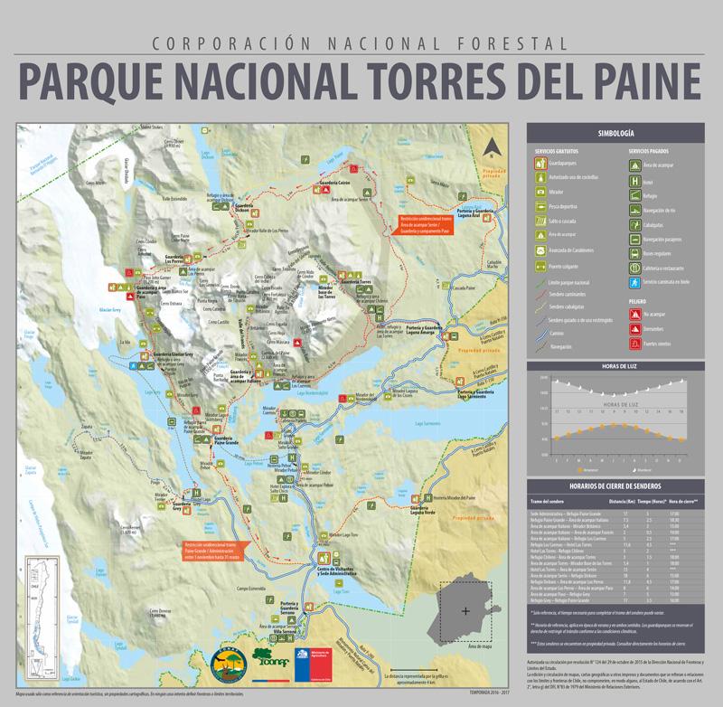 Large Torres del Paine map