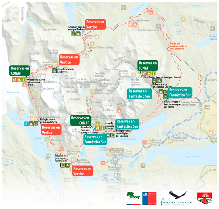 torres del paine campground map