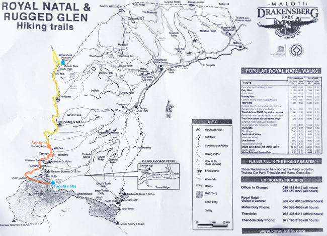 amphitheatre hike, royal natal map south africa
