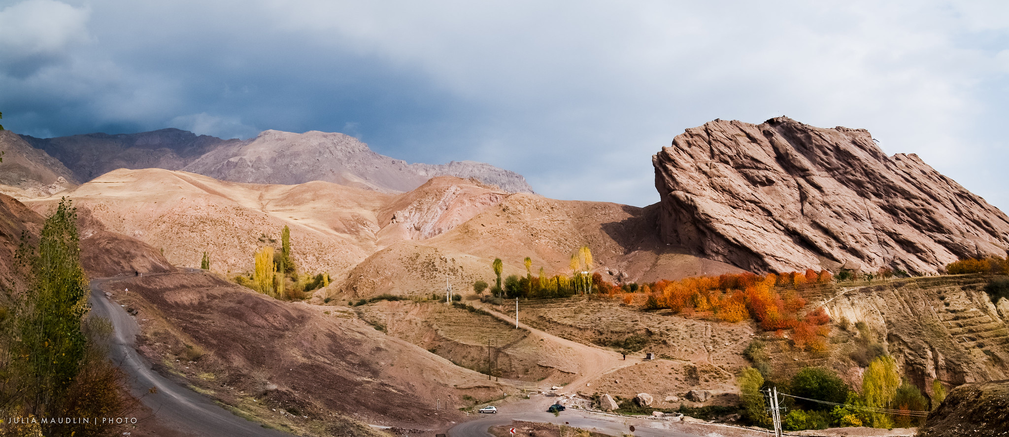 Remains of Alamut Castle Clinging to a Crag Above the Valley